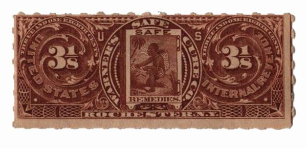 1898-1900 3 1/8c Proprietary Medicine Stamp - brown, Hyphen Hole