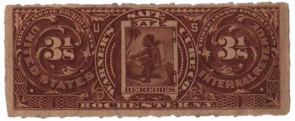 1898-1900 3 1/8c Proprietary Medicine Stamp - brown