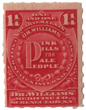 1898-1900 1 1/4c Proprietary Medicine Stamp - pink, Hyphen Hole
