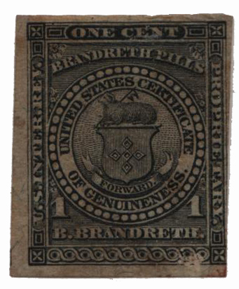 1862 1c Proprietary Medicine Stamp - black, silk paper