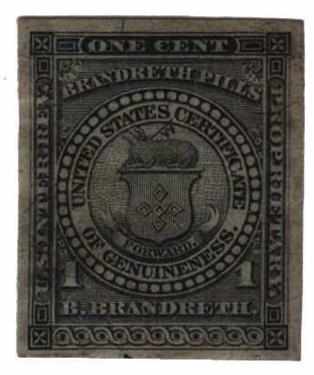 1862 1c Proprietary Medicine Stamp - black