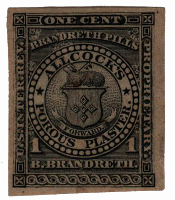 1862 1c Proprietary Medicine Stamp - black,watermark 191R