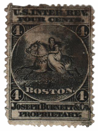 1862 4c Proprietary Medicine Stamp - black, silk paper