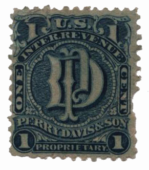 1862 1c Proprietary Medicine Stamp - blue, watermark 191R