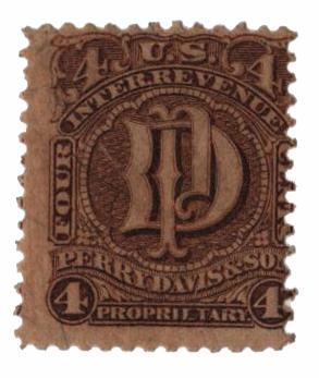 1862 4c Proprietary Medicine Stamp - brown, silk paper