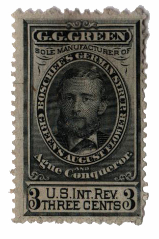 1862 1c Proprietary Medicine Stamp - green
