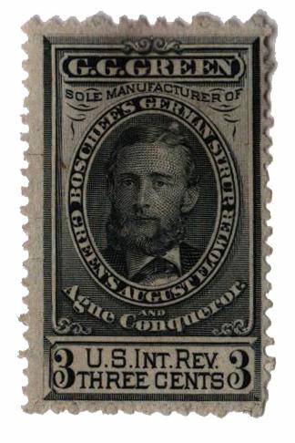 1862 1c Proprietary Medicine Stamp - green