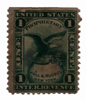1862 1c Proprietary Medicine Stamp - green, silk paper