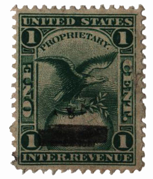 1862 1c Proprietary Medicine Stamp - grn,dl wmk, Hall & Ruckel