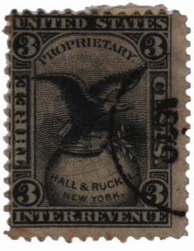 1862 3c Proprietary Medicine Stamp - black, watermark 191R