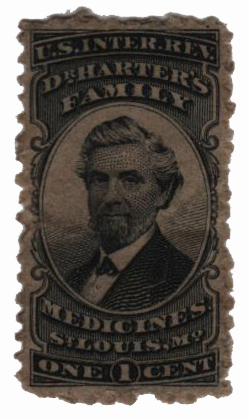 1862 1c Proprietary Medicine Stamp - black, watermark 191R