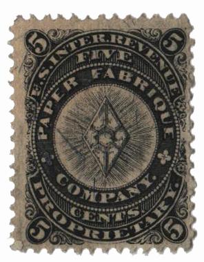 1864 5c blue, silk paper