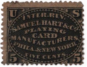 1864 5c blk,silk paper,Samuel Hart