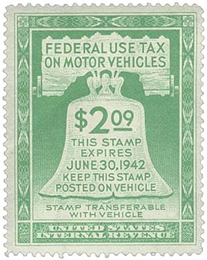 1942 $2.09 Motor Vehicle Use Tax, light green (gum on back)