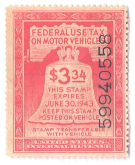 1942 $3.34 Motor Vehicle Use Tax, rose red (gum & control no. on face, incriptions on back)