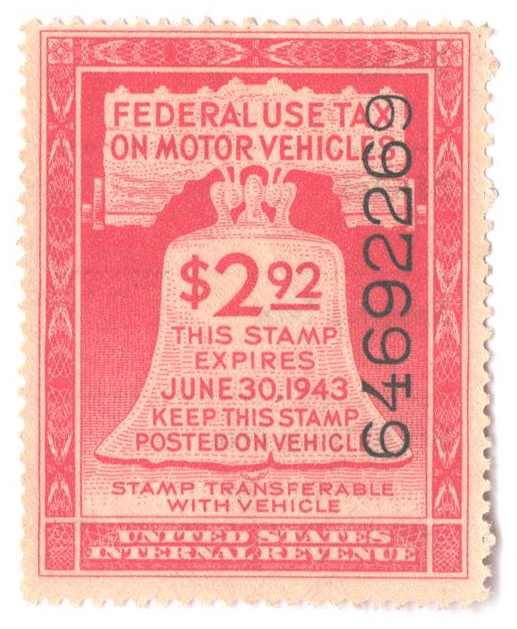 1942 $2.92 Motor Vehicle Use Tax, rose red (gum & control no. on face, incriptions on back)