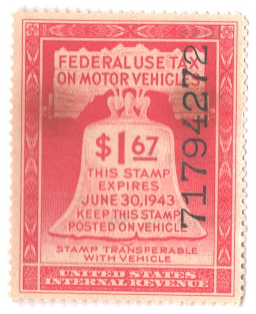 1943 $2.50 Motor Vehicle Use Tax, rose red (gum & control no. on face, incriptions on back)