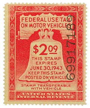 1943 $2.09 Motor Vehicle Use Tax, rose red (gum & control no. on face, incriptions on back)