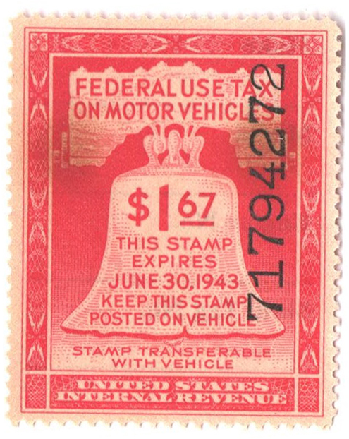 1943 $1.67 Motor Vehicle Use Tax, rose red (gum & control no. on face, incriptions on back)