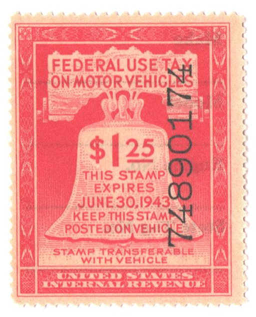 1943 $1.25 Motor Vehicle Use Tax, rose red (gum & control no. on face, incriptions on back)