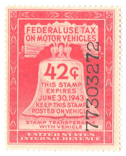 1943 42c Motor Vehicle Use Tax, rose red (gum & control no. on face, incriptions on back)