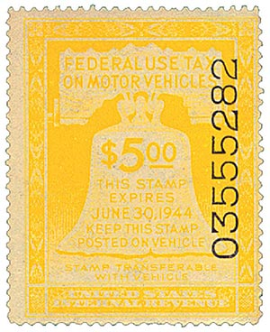 1943 $5 Motor Vehicle Use Tax, yellow (gum & control no. on face, incriptions on back)