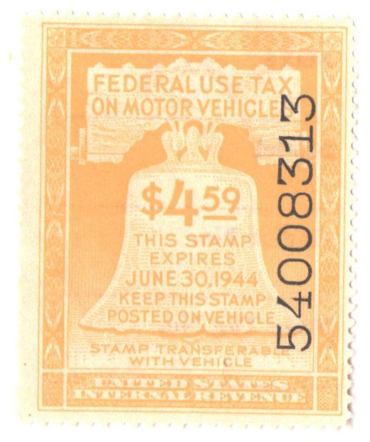 1943 $4.59 Motor Vehicle Use Tax, yellow (gum & control no. on face, incriptions on back)