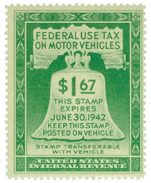1942 $1.67 Motor Vehicle Use Tax, light green (gum on face, incriptions on back)