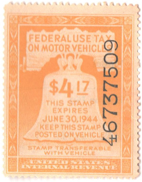 1943 $4.17 Motor Vehicle Use Tax, yellow (gum & control no. on face, incriptions on back)