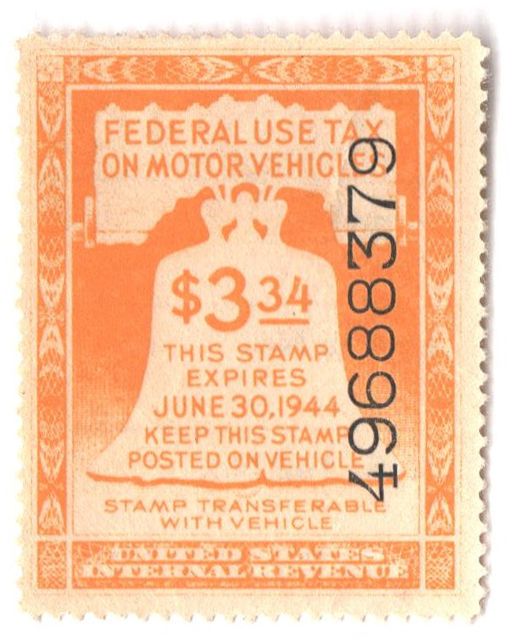 1943 $3.34 Motor Vehicle Use Tax, yellow (gum & control no. on face, incriptions on back)