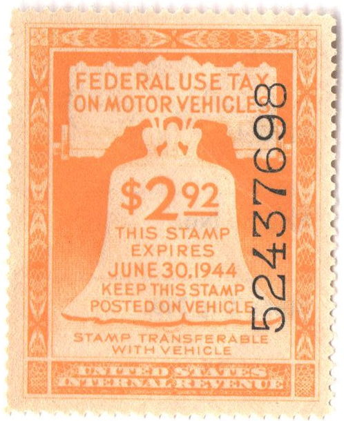 1943 $2.92 Motor Vehicle Use Tax, yellow (gum & control no. on face, incriptions on back)