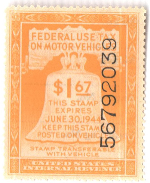 1944 $1.67 Motor Vehicle Use Tax, yellow (gum & control no. on face, incriptions on back)