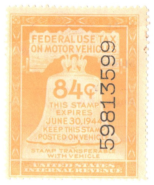 1944 84c Motor Vehicle Use Tax, yellow (gum & control no. on face, incriptions on back)