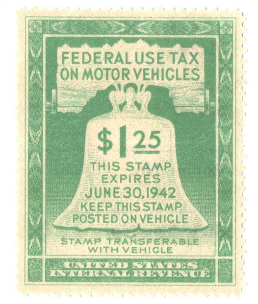 1942 $1.25 Motor Vehicle Use Tax, light green (gum on face, incriptions on back)
