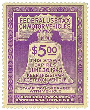 1944 $5 Motor Vehicle Use Tax, violet (gum on face, control no. & incriptions on back)