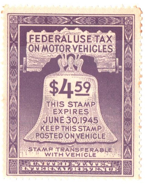 1944 $4.59 Motor Vehicle Use Tax, violet (gum on face, control no. & incriptions on back)