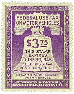 1944 $3.75 Motor Vehicle Use Tax, violet (gum on face, control no. & incriptions on back)