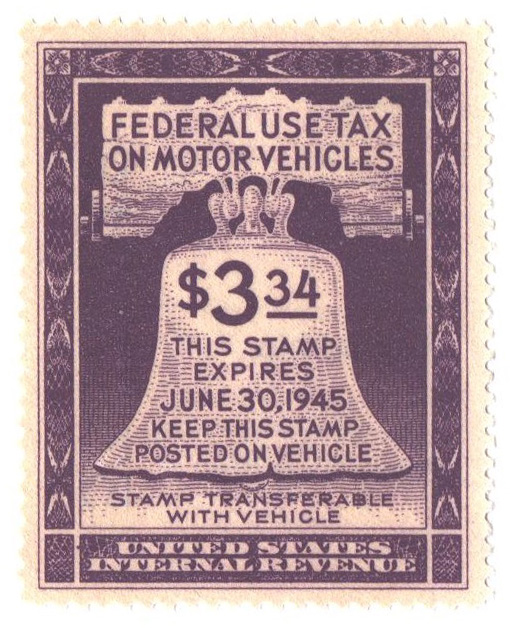 1944 $3.34 Motor Vehicle Use Tax, violet (gum on face, control no. & incriptions on back)