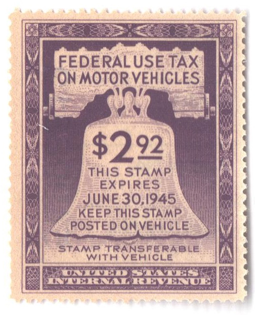1944 $2.92 Motor Vehicle Use Tax, violet (gum on face, control no. & incriptions on back)