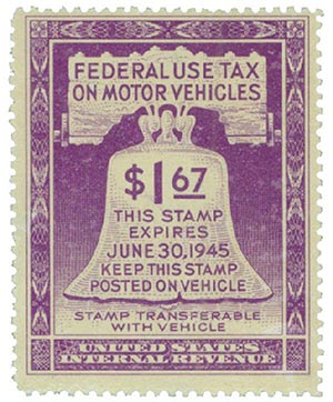 1945 $1.67 Motor Vehicle Use Tax, violet (gum on face, control no. & incriptions on back)