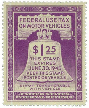 1945 $1.25 Motor Vehicle Use Tax, violet (gum on face, control no. & incriptions on back)