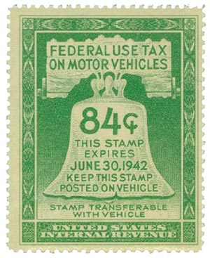 1942 84c Motor Vehicle Use Tax, light green (gum on face, incriptions on back)