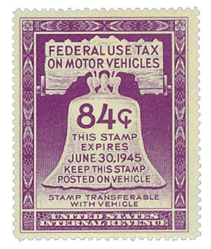1945 84c Motor Vehicle Use Tax, violet (gum on face, control no. & incriptions on back)