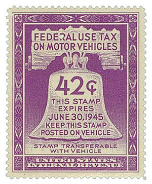 1945 42c Motor Vehicle Use Tax, violet (gum on face, control no. & incriptions on back)
