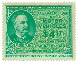 1945 $4.17 Motor Vehicle Use Tax, bright blue green & yellow green (gum on face, control no. & incriptions on back)