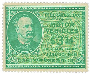 1945 $3.34 Motor Vehicle Use Tax, bright blue green & yellow green (gum on face, control no. & incriptions on back)