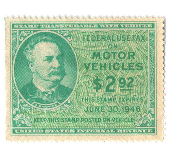 1945 $2.92 Motor Vehicle Use Tax, bright blue green & yellow green (gum on face, control no. & incriptions on back)