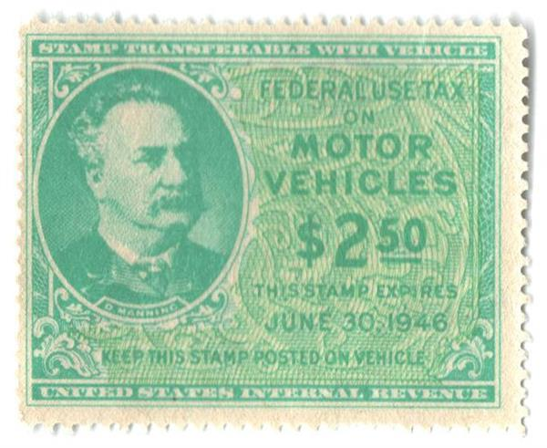 1946 $2.50 Motor Vehicle Use Tax, bright blue green & yellow green (gum on face, control no. & incriptions on back)