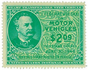 1946 $2.09 Motor Vehicle Use Tax, bright blue green & yellow green (gum on face, control no. & incriptions on back)