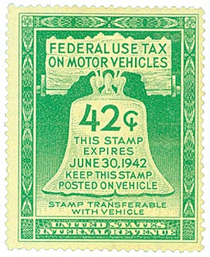 1942 42c Motor Vehicle Use Tax, light green (gum on face, incriptions on back)